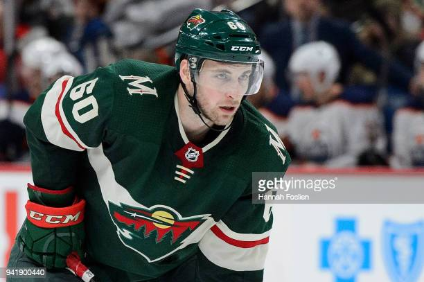 Carson Soucy of the Minnesota Wild looks on before a face-off in his debut against the Edmonton Oilers during the game on April 2, 2018 at Xcel...