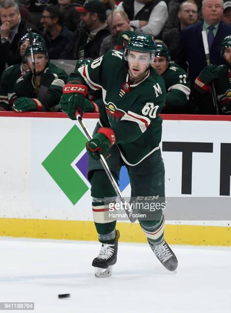 Carson Soucy of the Minnesota Wild passes the puck in his debut against the Edmonton Oilers during the second period of the game on April 2, 2018 at...