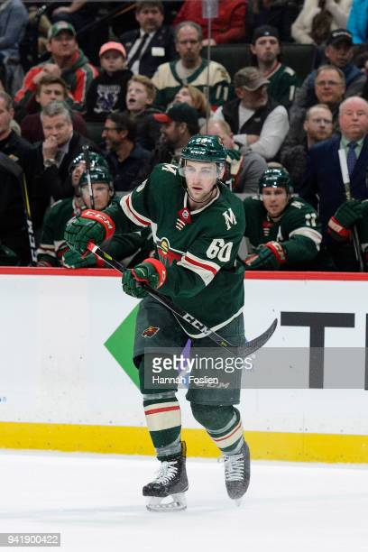 Carson Soucy of the Minnesota Wild skates on the ice in his debut during the game against the Edmonton Oilers on April 2, 2018 at Xcel Energy Center...