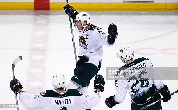 Carson Stadnyk of the Everett Silvertips celebrates his game winning goal against the Vancouver Giants during overtime of their WHL game at the...