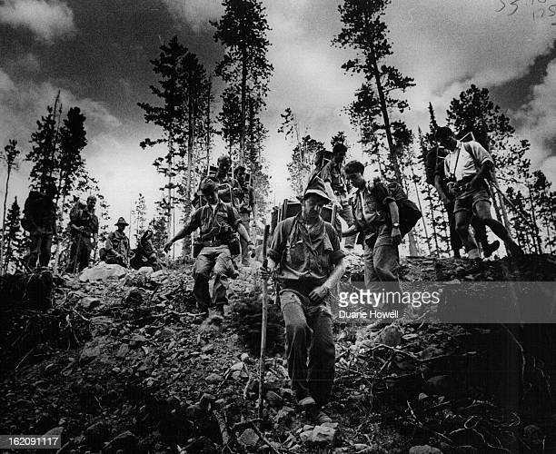AUG 19 1972 AUG 26 1972 AUG 28 1972 Carson Striders leave logging road they were out into woods of the Arapahoe National Forest during their 615mile...