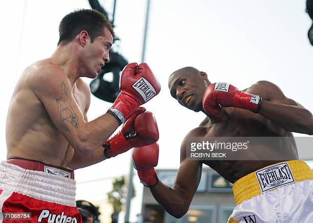 USA's Paul Williams and Argentina's Walter Dario Matthysse in action in their 12 round Welterweight NABO title bout at the Home Depot Center in...