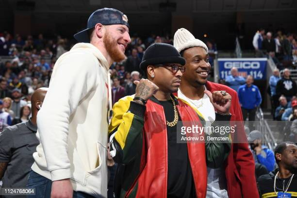Carson Wentz Allen Iverson and Alshon Jeffery pose for a photo during the game between the Los Angeles Lakers and the Philadelphia 76ers on February...