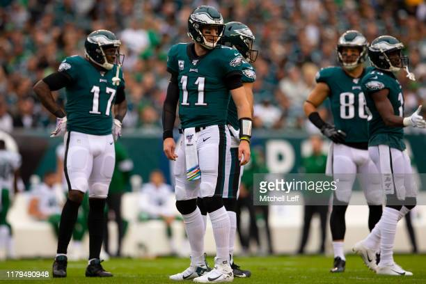 Carson Wentz Alshon Jeffery Zach Ertz and Nelson Agholor of the Philadelphia Eagles look on against the New York Jets at Lincoln Financial Field on...