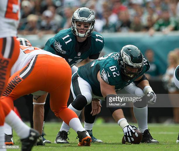 Carson Wentz and Jason Kelce of the Philadelphia Eagles play against the Cleveland Browns at Lincoln Financial Field on September 11, 2016 in...