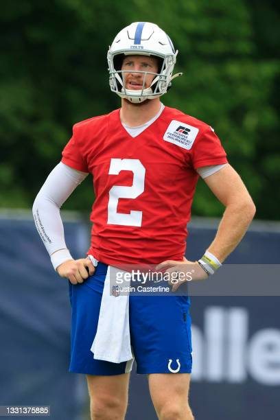 Carson Wentz of the Indianapolis Colts on the field during the Indianapolis Colts Training Camp at Grand Park on July 29, 2021 in Westfield, Indiana.