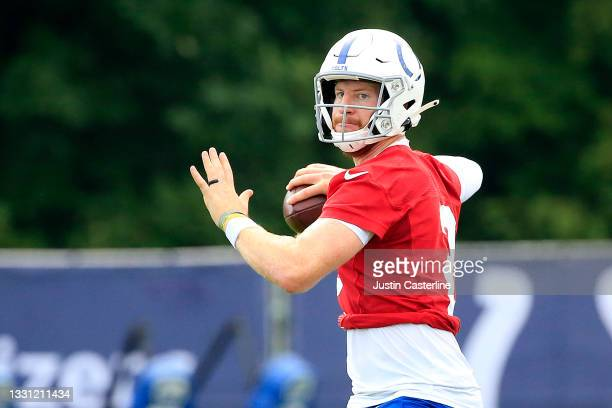 Carson Wentz of the Indianapolis Colts throws a pass during the Indianapolis Colts Training Camp at Grand Park on July 28, 2021 in Westfield, Indiana.