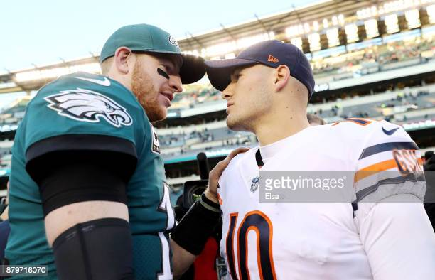 Carson Wentz of the Philadelphia Eagles and Mitchell Trubisky of the Chicago Bears talk after the game on November 26 2017 at Lincoln Financial Field...