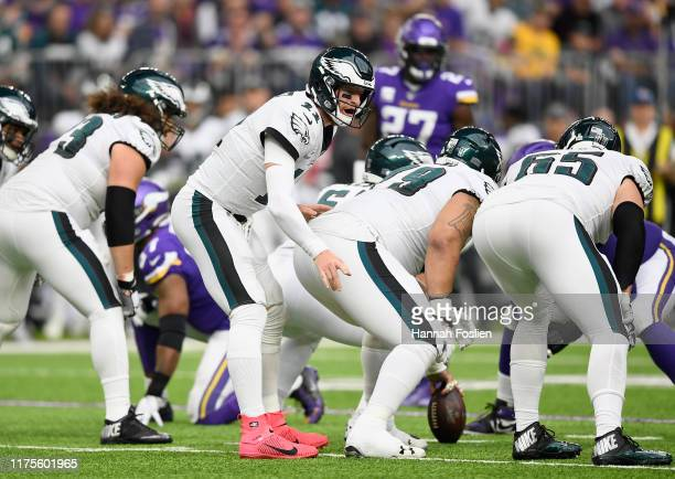 Carson Wentz of the Philadelphia Eagles calls a play at the line of scrimmage against the Minnesota Vikings during the second quarter of the game at...
