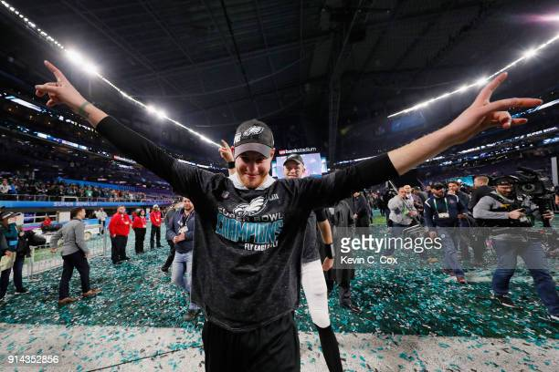 Carson Wentz of the Philadelphia Eagles celebrates after his teams 4133 win over the New England Patriots in Super Bowl LII at US Bank Stadium on...