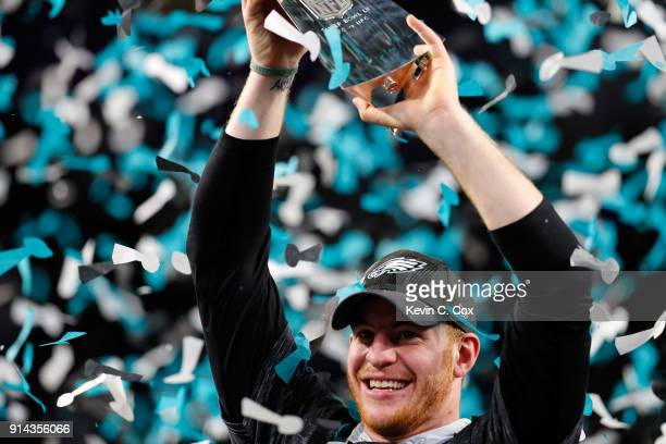 Carson Wentz of the Philadelphia Eagles celebrates with the Vince Lombardi Trophy after his teams 4133 victory over the New England Patriots in Super...