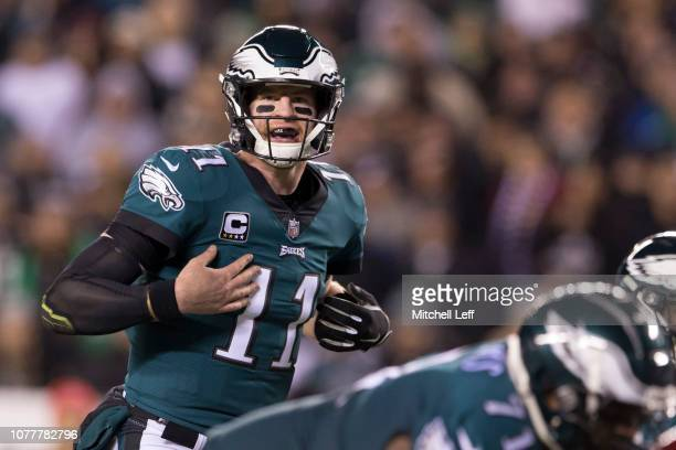 Carson Wentz of the Philadelphia Eagles in action against the Washington Redskins at Lincoln Financial Field on December 3 2018 in Philadelphia...