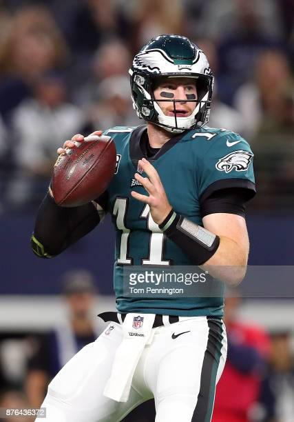 Carson Wentz of the Philadelphia Eagles looks to pass in the first quarter agasint the Dallas Cowboys in a football game at ATT Stadium on November...