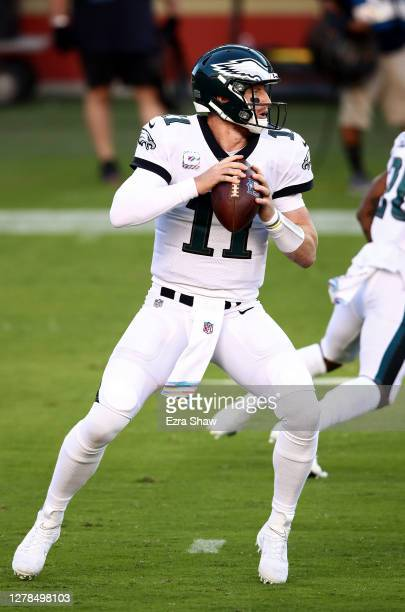 Carson Wentz of the Philadelphia Eagles looks to throw a pass against the San Francisco 49ers during the first quarter at Levi's Stadium on October...