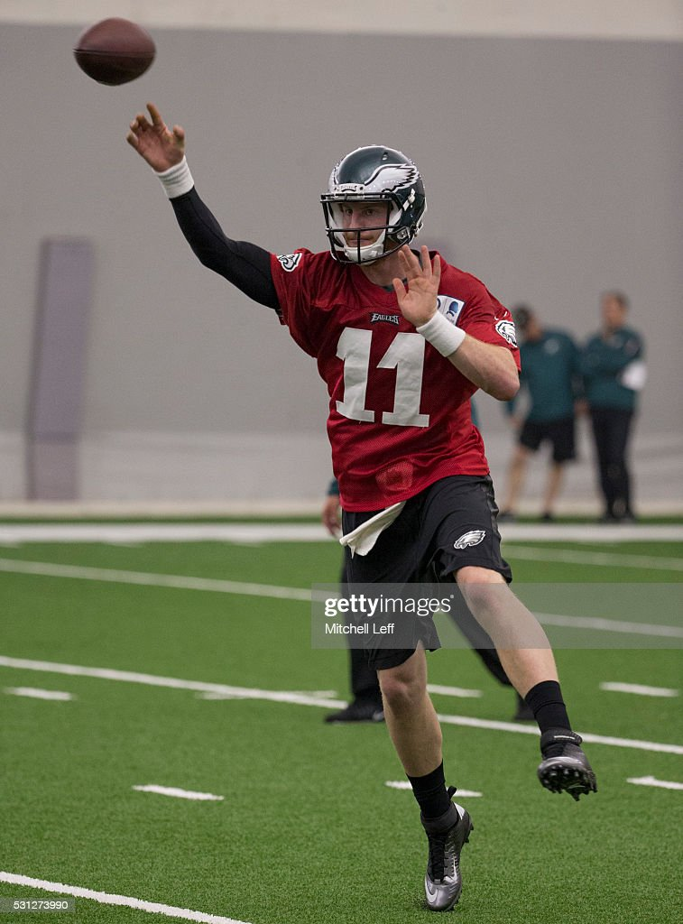 Carson Wentz #11 of the Philadelphia Eagles participates in rookie camp at the NovaCare Complex on May 13, 2016 in Philadelphia, Pennsylvania.