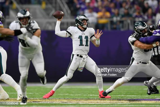 Carson Wentz of the Philadelphia Eagles passes the ball against the Minnesota Vikings during the second quarter of the game at US Bank Stadium on...