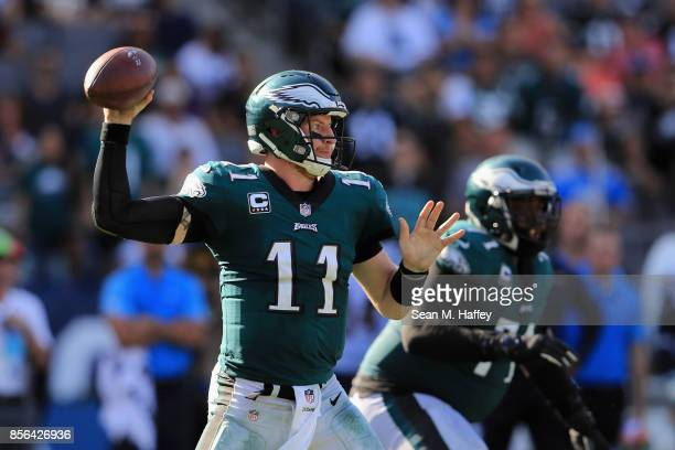 Carson Wentz of the Philadelphia Eagles passes the ball during the second half of a game against the Los Angeles Chargers at StubHub Center on...