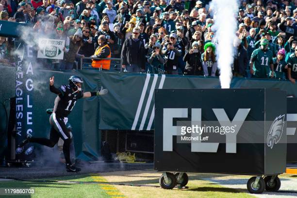 Carson Wentz of the Philadelphia Eagles runs onto the field prior to the game against the Chicago Bears at Lincoln Financial Field on November 3 2019...