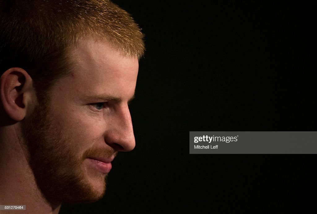 Carson Wentz #11 of the Philadelphia Eagles talks to the media at the NovaCare Complex on May 13, 2016 in Philadelphia, Pennsylvania.