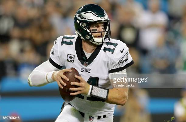 Carson Wentz of the Philadelphia Eagles throws a pass against the Carolina Panthers in the second quarter during their game at Bank of America...