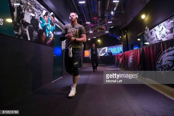 Carson Wentz of the Philadelphia Eagles walks out of the locker room prior to the game against the Denver Broncos at Lincoln Financial Field on...