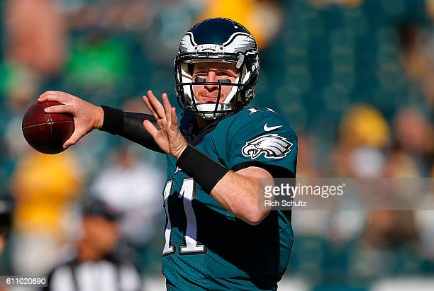 Carson Wentz of the Philadelphia Eagles warms up before a game against the Pittsburgh Steelers at Lincoln Financial Field on September 25 2016 in...