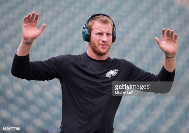 Carson Wentz of the Philadelphia Eagles warms up prior to the preseason game against the Buffalo Bills at Lincoln Financial Field on August 17 2017...