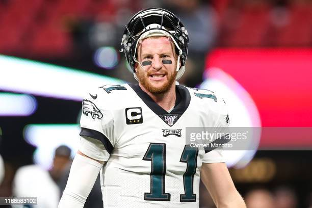 Carson Wentz of the Philadelphia Eagles warms up prior to the start of the game against the Atlanta Falcons at MercedesBenz Stadium on September 15...