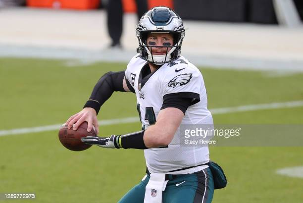 Carson Wentz of the Philadelphia Eagles warms up prior to their game against the Green Bay Packers at Lambeau Field on December 06, 2020 in Green...
