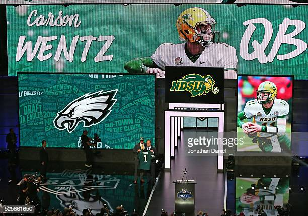 Carson Wentz poses with Roger Goodell after being drafted by the Philadelphia Eagles during the 2016 NFL Draft at the Auditorium Theater on April 28...