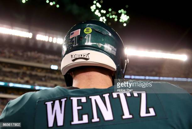 Carson Wentz the Philadelphia Eagles leaves the field after the Eagles' 3424 win against the Washington Redskins at Lincoln Financial Field on...