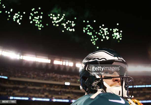 Carson Wentz the Philadelphia Eagles looks on after the Eagles' 3424 win against the Washington Redskins at Lincoln Financial Field on October 23...