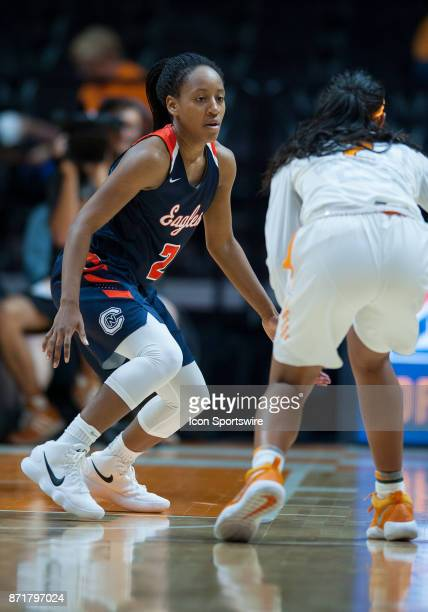 CarsonNewman guard Briana Smith guarding Tennessee Lady Volunteers guard Anastasia Hayes during a game between the CarsonNewman Eagles and Tennessee...