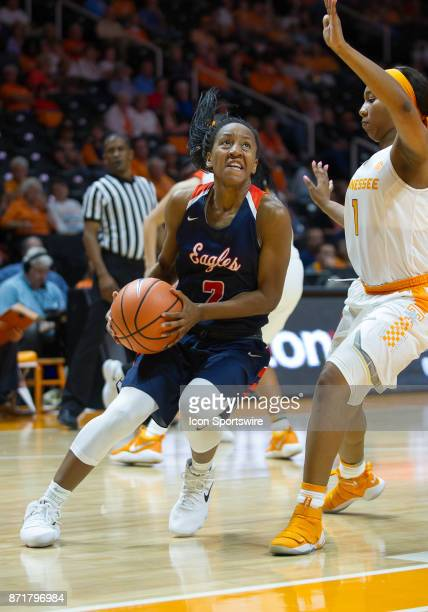 CarsonNewman guard Briana Smith is guarded by Tennessee Lady Volunteers guard Anastasia Hayes during a game between the CarsonNewman Eagles and...