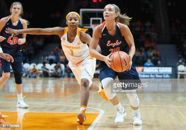 CarsonNewman guard Haris Price drives past Tennessee Lady Volunteers guard Anastasia Hayes during a game between the CarsonNewman Eagles and...