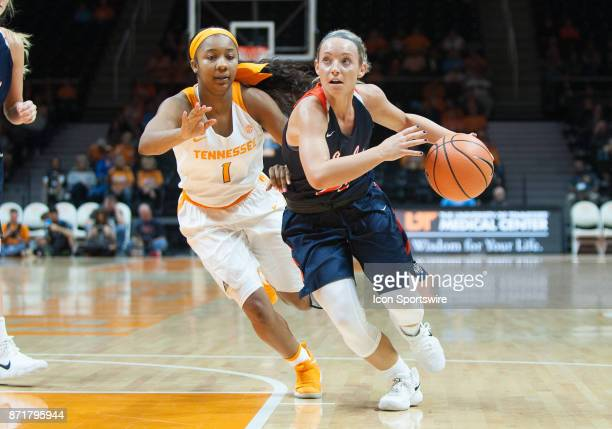CarsonNewman guard Haris Price drives to the basket around Tennessee Lady Volunteers guard Anastasia Hayes during a game between the CarsonNewman...