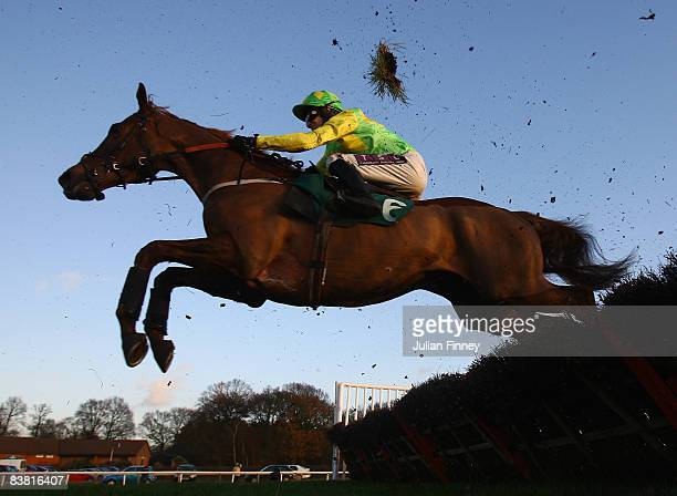 Carson's Spirit ridden by Pat Brennan jumps the last in the Hartfield Handicap Hurdle run at Lingfield Park Racecourse on November 25 2008 in...