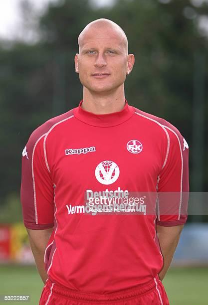 Carsten Jancker looks in the camera during the team presentation of 1FC Kaiserslautern for the Bundesliga season 2005 2006 on July 10 2005 in...