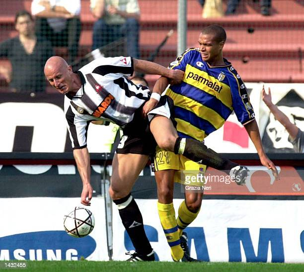 Carsten Jancker of Udinese in action during the Serie A match between Udinese and Parma played at the Friuli Stadium Udine Italy on September 15 2002