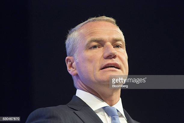 Carsten Kengeter chief executive officer of Deutsche Boerse AG speaks during the German stock exchange's annual general meeting in Frankfurt Germany...
