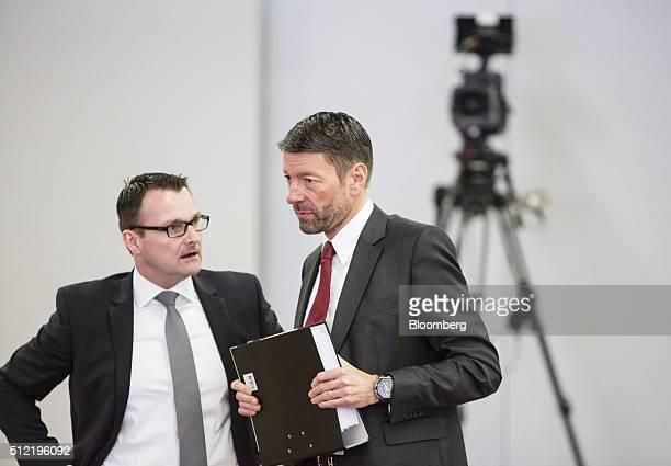 Carsten Knobel chief financial officer of Henkel AG left speaks with Kasper Rorsted outgoing chief executive officer of Henkel AG ahead of a news...