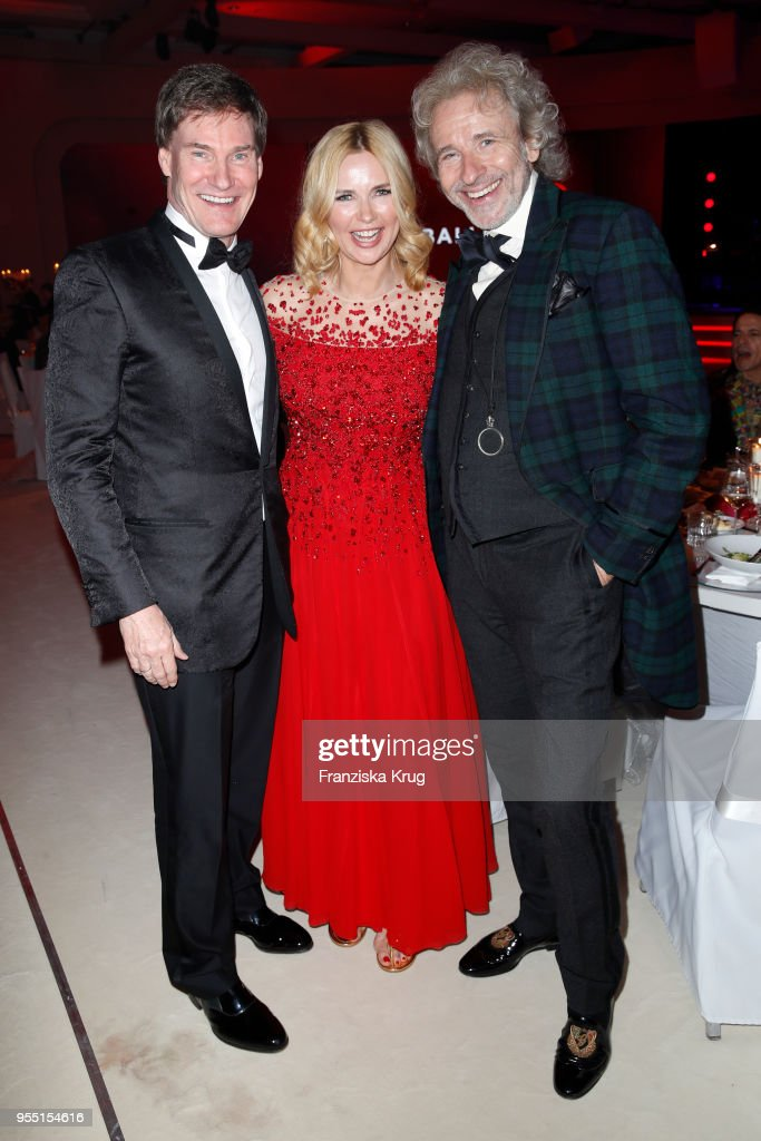 Carsten Maschmeyer, Veronica Ferres and Thomas Gottschalk during the Rosenball charity event at Hotel Intercontinental on May 5, 2018 in Berlin, Germany.