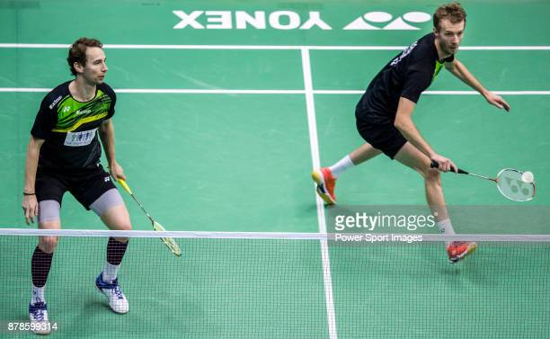 Carsten Mogensen and Mathias Boe of Denmark compete against Liao Min Chun and Cheng Heng Su of Taiwan during their men doubles round 32 match of the...