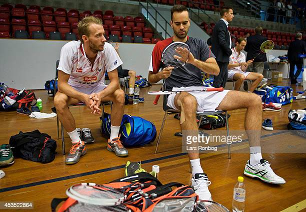 Carsten Mogensen speaks to Joachim Fischer in a break during the Danish National Badminton Team training ahead of the Badminton World Championships...