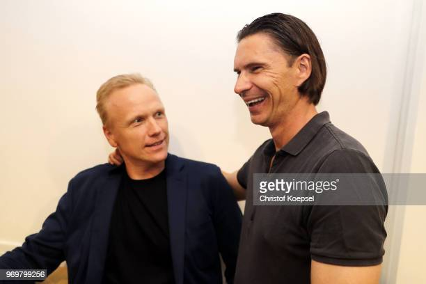 Carsten Ramelow and Thomas Brdaric are seen nduring the Club Of Former National Players Meeting at BayArena on June 8 2018 in Leverkusen Germany