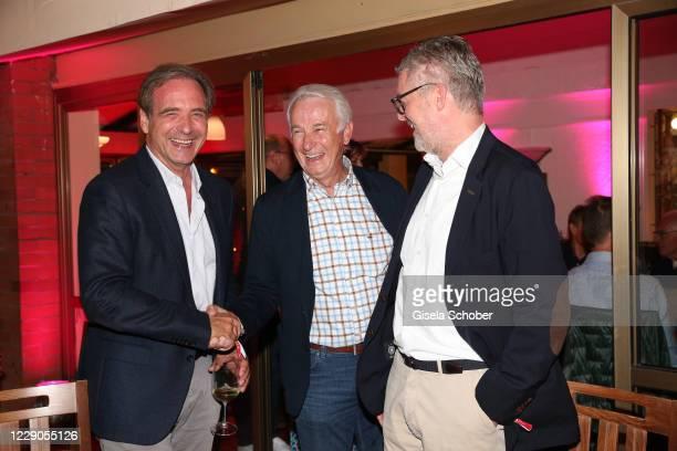 Carsten Schmidt, celebrates his birthday, Rainer Bonhof, Thorsten Maiberger during the welcome reception prior the 30th anniversary celebration of...