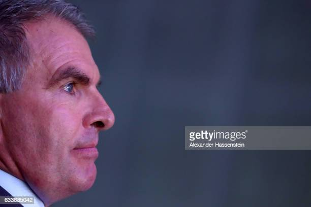Carsten Spohr Chairman of German airline Lufthansa looks on during a rollout event at Munich Airport on February 2 2017 in Munich Germany The Airbus...