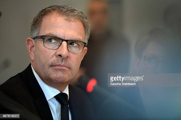 Carsten Spohr Chairman of German airline Lufthansa speaks to the media following the latest developments in the investigation into the crash of...