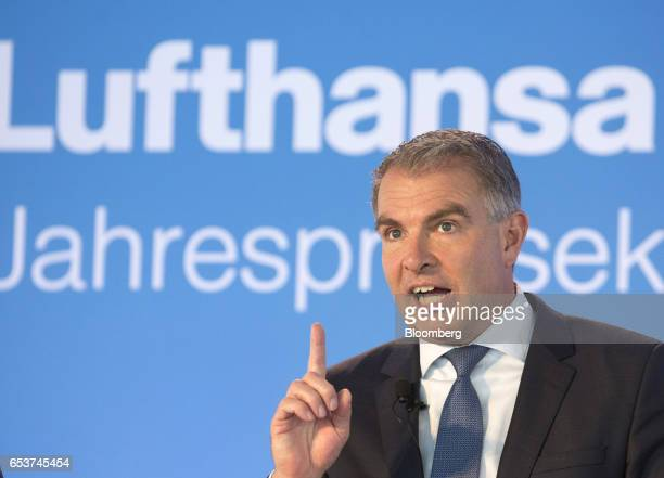Carsten Spohr chief executive officer of Deutsche Lufthansa AG gestures as he speaks during a news conference to announce company results in...