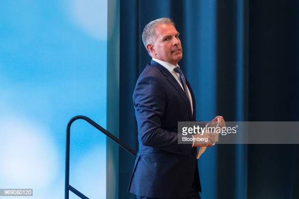 Carsten Spohr chief executive officer of Deutsche Lufthansa AG leaves the stage after speaking during the European School of Management and...